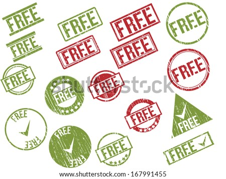 """Collection of  17 red and green grunge rubber stamps with text """"FREE"""" . Vector illustration - stock vector"""