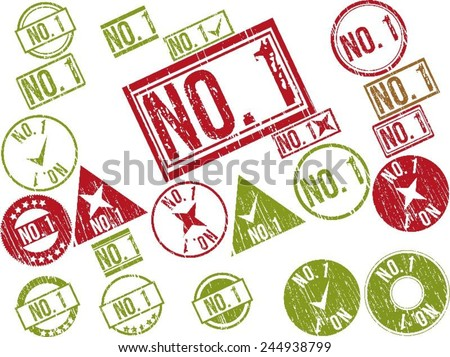 """Collection of 22 red and green grunge rubber stamps with text """"NO. 1"""" . Vector illustration - stock vector"""