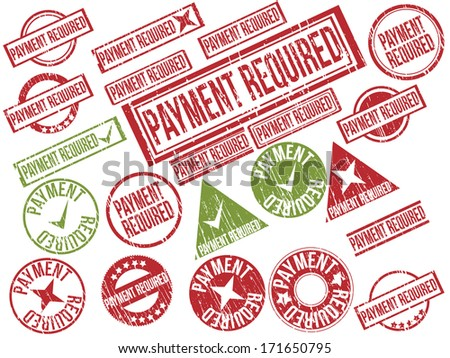 "Collection of 22 red and green grunge rubber stamps with text ""PAYMENT REQUIRED"" . Vector illustration"
