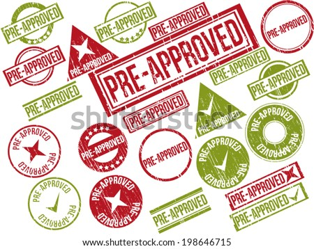 "Collection of 22 red and green grunge rubber stamps with text ""PRE-APPROVED"" . Vector illustration - stock vector"