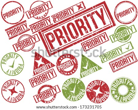 "Collection of 22 red and green grunge rubber stamps with text ""PRIORITY"" . Vector illustration"