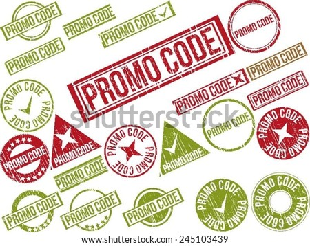 """Collection of 22 red and green grunge rubber stamps with text """"PROMO CODE"""" . Vector illustration - stock vector"""