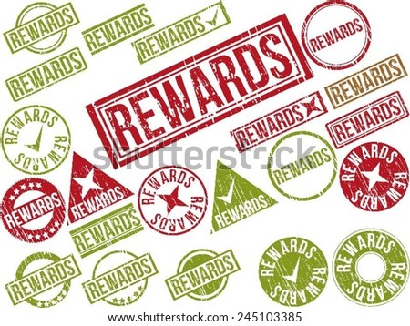 """Collection of 22 red and green grunge rubber stamps with text """"REWARDS"""" . Vector illustration - stock vector"""