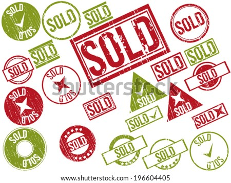 """Collection of 22 red and green grunge rubber stamps with text """"SOLD"""" . Vector illustration. - stock vector"""