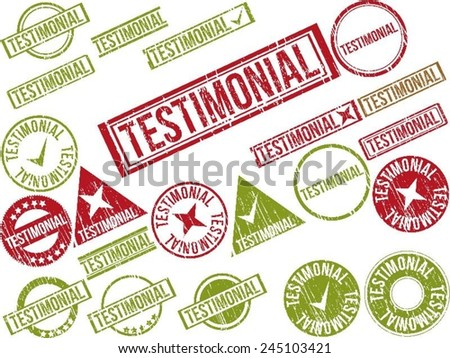 "Collection of 22 red and green grunge rubber stamps with text ""TESTIMONIAL"" . Vector illustration - stock vector"