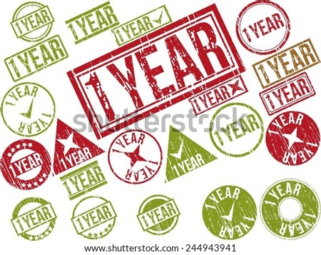 "Collection of 22 red and green grunge rubber stamps with text ""1 YEAR"" . Vector illustration"