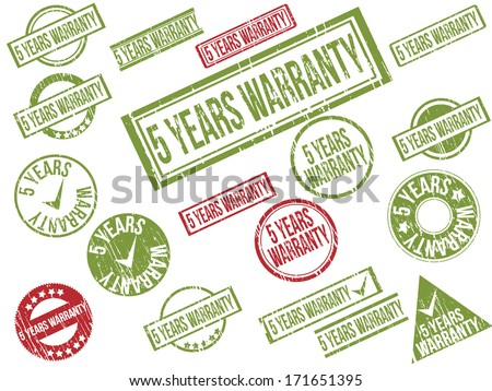 """Collection of 18 red and green grunge rubber stamps with text """"5 YEARS WARRANTY"""" . Vector illustration - stock vector"""