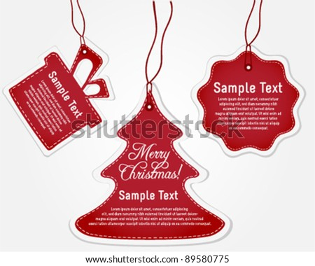 Collection of Red Christmas Labels - stock vector