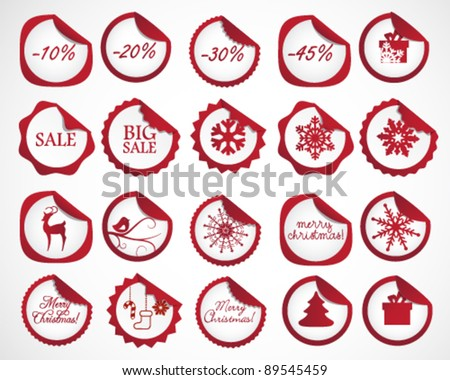 Collection of red Christmas Stickers - stock vector