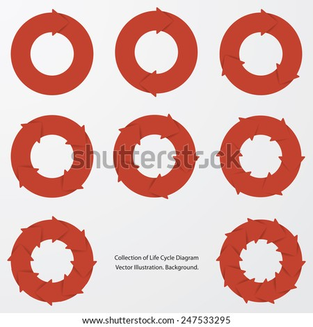 collection of red color arrow circle flows. vector. - stock vector