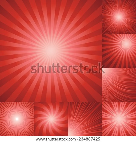 collection of red color burst background. Vector illustration - stock vector