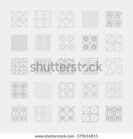 Collection of 30 red geometric shapes. Hexagons, Triangles, Squares,Circles, Crystals Line design elements.Trendy hipster icon,logo, logotypes. Vector illustration. Isolated