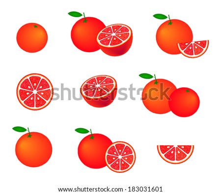 Collection of red grapefruits, isolated on white background, vector illustration. - stock vector
