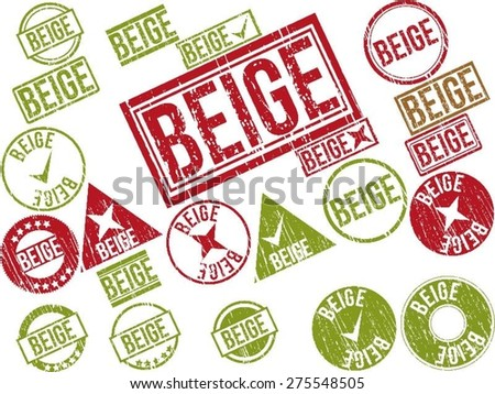 "Collection of 22 red grunge rubber stamps with text ""BEIGE"" . Vector illustration"