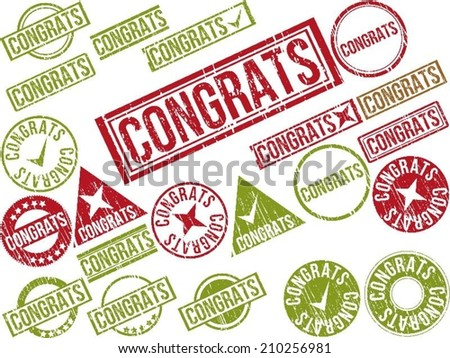 "Collection of 22 red grunge rubber stamps with text ""CONGRATS"" . Vector illustration - stock vector"