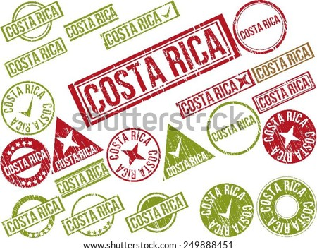 """Collection of 22 red grunge rubber stamps with text """"COSTA RICA"""" . Vector illustration - stock vector"""