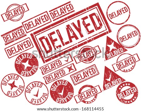 "Collection of 21 red grunge rubber stamps with text ""DELAYED"" . Vector illustration - stock vector"