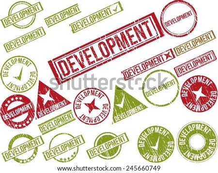 """Collection of 22 red grunge rubber stamps with text """"DEVELOPMENT"""" . Vector illustration - stock vector"""