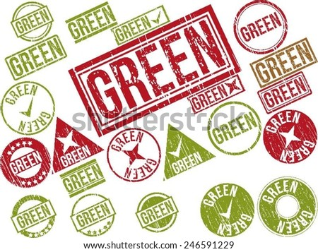 "Collection of 22 red grunge rubber stamps with text ""GREEN"" . Vector illustration"