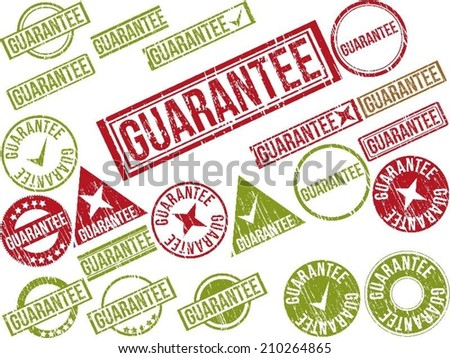 """Collection of 22 red grunge rubber stamps with text """"GUARANTEE"""" . Vector illustration - stock vector"""