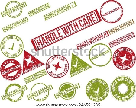 """Collection of 22 red grunge rubber stamps with text """"HANDLE WITH CARE"""" . Vector illustration - stock vector"""
