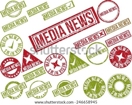 "Collection of 22 red grunge rubber stamps with text ""MEDIA NEWS"" . Vector illustration - stock vector"