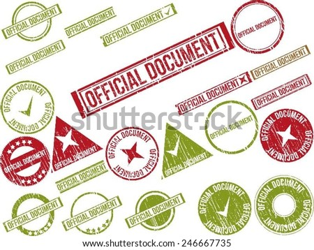"""Collection of 22 red grunge rubber stamps with text """"OFFICIAL DOCUMENT"""" . Vector illustration - stock vector"""