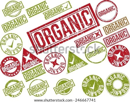"""Collection of 22 red grunge rubber stamps with text """"ORGANIC"""" . Vector illustration - stock vector"""