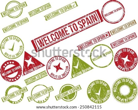 """Collection of 22 red grunge rubber stamps with text """"WELCOME TO SPAIN"""" . Vector illustration - stock vector"""