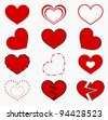 Collection of red hearts. Vector illustration - stock photo
