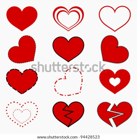 Collection of red hearts. Vector illustration - stock vector
