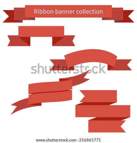 Collection of red retro ribbons banners for your business - stock vector