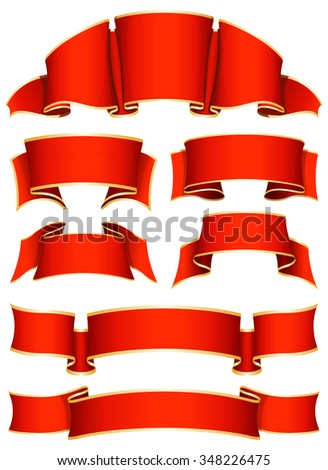 Collection of 7 red ribbon. Vector illustration  - stock vector