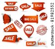 Collection of red sale tickets, labels, stamps, stickers, corners, tags on white background - stock
