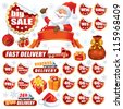 Collection of red stickers and Christmas design elements - stock photo