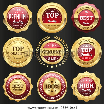 Collection of red top quality badges with gold border - stock vector
