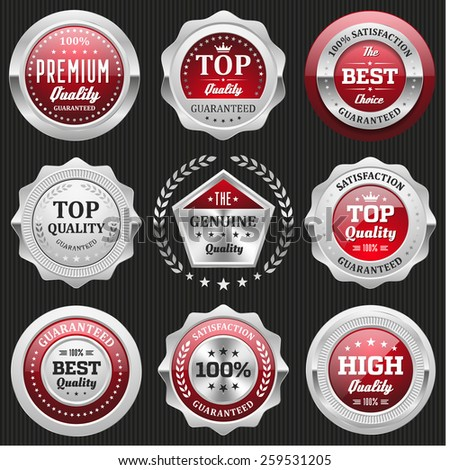 Collection of red top quality badges with silver border - stock vector