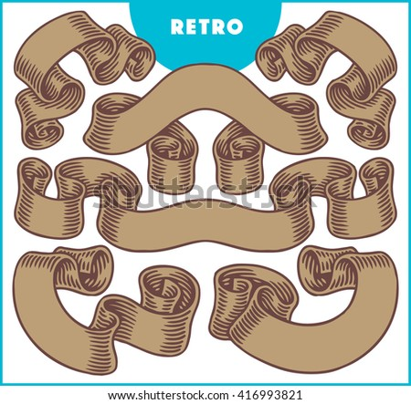 Collection of retro brown ribbon banners. - stock vector