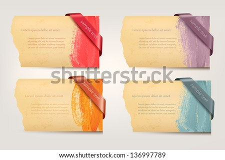 Collection of retro cardboard paper banners with color ribbon tags. Vector - stock vector