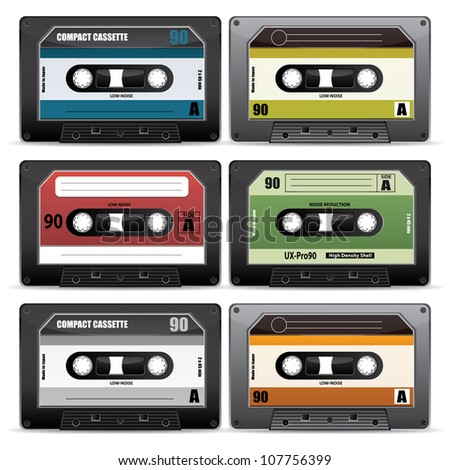 collection of retro cassettes - stock vector