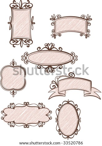 Collection of retro frames - stock vector