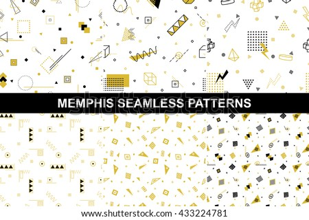 Collection of retro geometric patterns with mosaic shapes - seamless backgrounds. Retro memphis style. Fashion 1980-1990s. Luxury black - gold textures. - stock vector