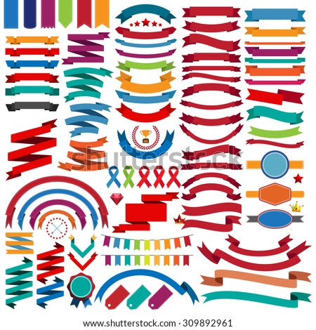 Collection of retro ribbons and labels.illustration eps10 - stock vector