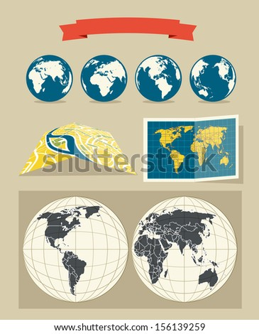 Collection of retro style world and city maps  - stock vector