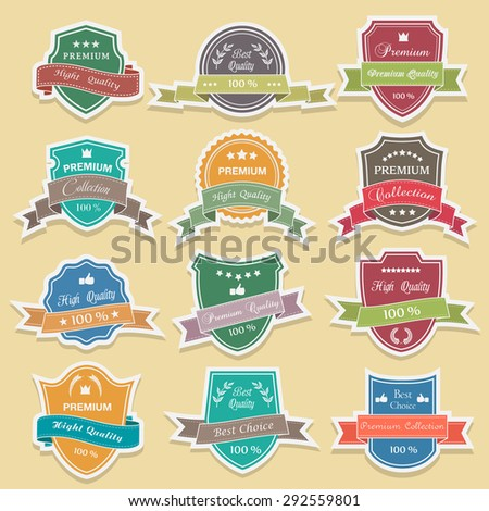 Collection of retro vintage colorful design labels and ribbon/sticker-premium quality,vector - stock vector
