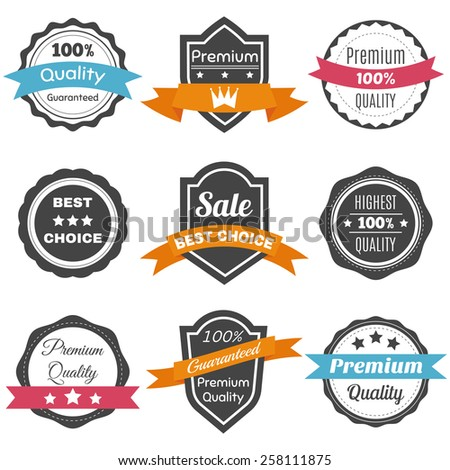 Collection of retro vintage labels. Best choice, premium quality vector badges. Vector illustration