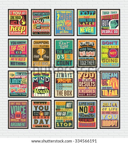 Collection of Retro Vintage Motivational Quotes Poster Illustration with Calligraphic and Typographic Elements - stock vector