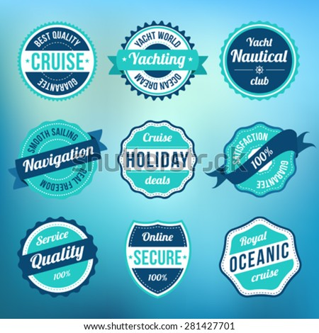 Collection of retro vintage nautical sea design labels