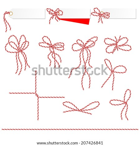 Collection of ribbons ahd bows in twine style can used as elements of your design - stock vector