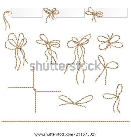 Collection of ribbons and bows in rope style for your design - stock vector
